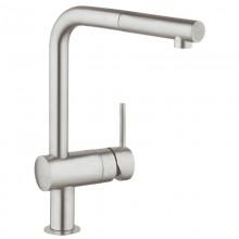 Смеситель GROHE MINTA (арт.32168DC0) для кухни, выдвижной излив, нерж.сталь