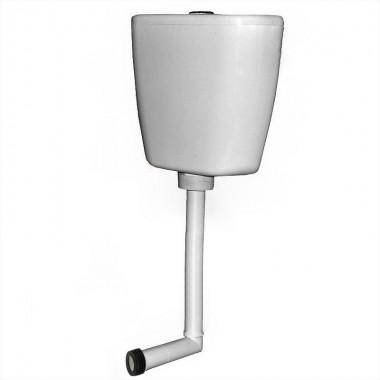 Бачок пластиковый среднего расположения с трубой, хром кнопка (Киров)