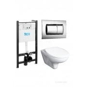 Унитаз подвесной с сиденьем микролифт + инсталляция с кнопкой MATEO (ROCA)