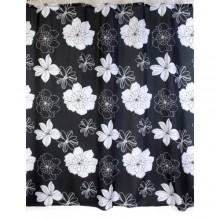 """Шторка для ванной """"Цветы"""" черная (арт. 01449) 180х200 без колец (PL)"""