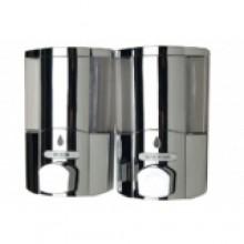 Диспенсер (MJ9010c-2) для жидкого мыла двойной пластик/хром 2*380 мл, настенный