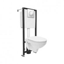 Комплект: DELFI (унитаз подвесной с сиденьем т/п lift+инст. BLACK с кн. хром глянцевый)
