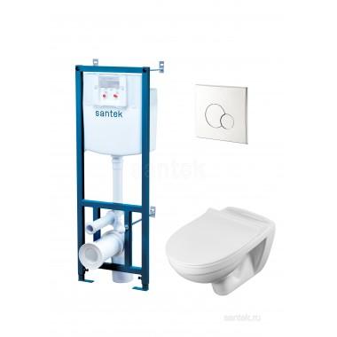 Комплект: Бореаль Пэк 1WH501544 подвесной унитаз + инсталляция + сиденье + панель хром
