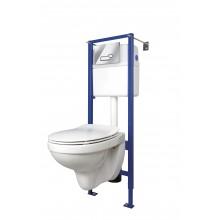 Комплект: DELFI (унитаз подвесной с сиденьем slim DP lift+инст. VECTOR с кн. ACTIS, хром глянцевый),