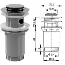 """Донный клапан для умывальника click/clack,5/4"""" малая заглушка A391 (AlcaPlast)"""