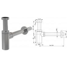 Сифон для умывальника цельнометаллический DESIGN круглый A400 (AlcaPlast)