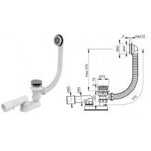 Сифон для ванны, click/clack A505CRM (AlcaPlast)