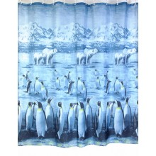 """Шторка для ванной """"Пингвины и медведи"""" (арт.ZJ110 Polar) 180х200 без колец"""