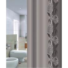 """Шторка для ванной """"Цветы"""" серая (арт.Х-12) 180х200 без колец"""