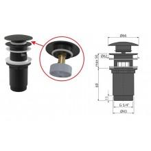 Донный клапан для умывальника click/clack A392BLACK (черный-мат) (AlcaPlast)
