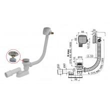 Сифон для ванны, CLICK/CLACK с напуском воды A508CKM (A508KM) (AlcaPlast)