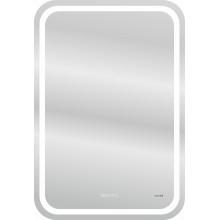 Зеркало LED 050 design pro 55x80 с подсветкой хол. тепл. cвет часы с антизапотев