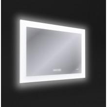 Зеркало LED 060 design pro 80x60 с подсветкой часы с антизапотеванием прямоуголь